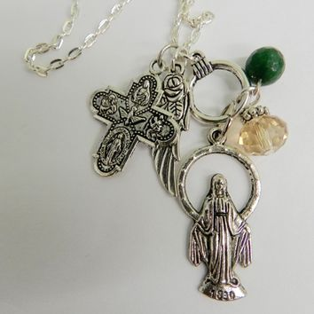 Miraculous Virgin Mary Medal Charms Necklace