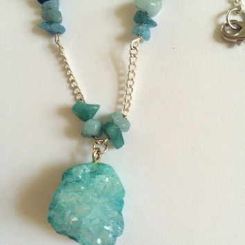Turquoise Crystal & Gemstone Necklace: long chain; adjustable