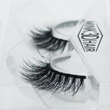 1 Pair Handmade 3D Mink False Eyelashes Crossing lashes Natural soft cotton stalk style Makeup Tools