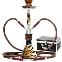 "Never Exhale 17"" Premium 2 Hose Hookah Shisha Complete Set with Carrying Case - Cheetah Leopard Tiger Animal Skin Art - Choose Your Beast (Wild Bengal Tiger)"
