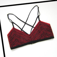 Red Lace Bralette; Strappy Front with Crisscross back