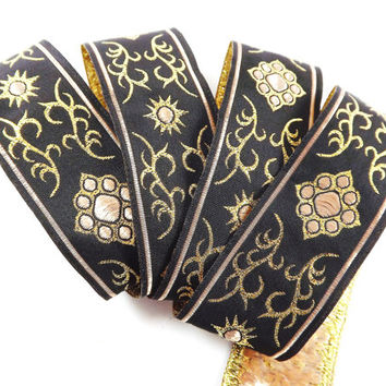 Bronze Beige Gold Black Ethnic Metallic Motif Woven Embroidered Jacquard Trim Ribbon - 1 Meter or 3.3 Feet or 1.09 Yards