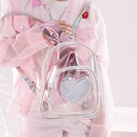 Harajuku Holo Holographic Iridescent Heart Transparent Clear Backpack SD01787