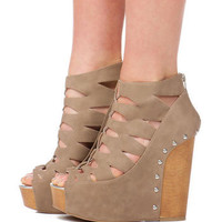 CHINESE LAUNDRY SHOES, JIFF STUDDED WEDGE IN TAUPE