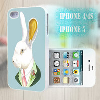 unique iphone case, i phone 4 4s 5 case,cool cute iphone4 iphone4s 5 case,stylish plastic rubber cases cover, funny animal  rabbit   bp932