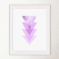 Purple Geometric art print, Geometric wall print, Printable art Purple print, Triangles Geometric printable wall art, Abstract art print