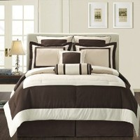 Fashion Street Gramercy 12-Piece Comforter Set, King, Ivory/Brown