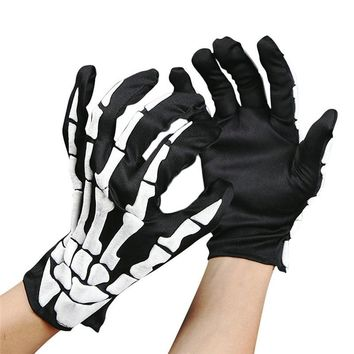 1 pair Halloween Skull Bone Skeleton Goth Racing Full Finger Gloves Scary dress up wearing Halloween supply drop ship sale