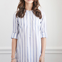 Pinstriped Shirt Dress