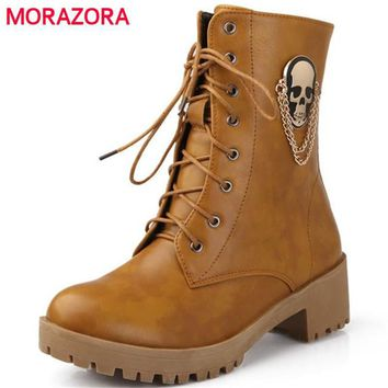 MORAZORA New hot sale autumn women fashion boots large size 34-40 skull street round