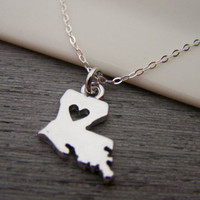 Louisiana State Heart Cut Out  Necklace