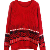 Red Vintage Folk Print Long Sleeve Knitted Sweater