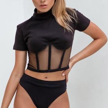 Women's Explosion models small high-necked pit mesh gauze stitching sexy umbilical top