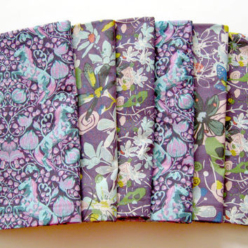 Large Cloth Napkins - Set of 6 - Purple Horses and Flowers