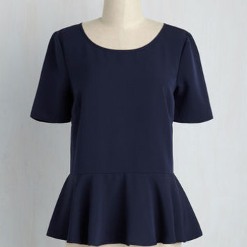 Cinch-Perfect Ruffled Top in Ultramarine | Mod Retro Vintage Short Sleeve Shirts | ModCloth.com