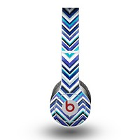 The Vibrant Blue Sharp Chevron copy Skin for the Beats by Dre Original Solo-Solo HD Headphones