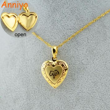 Anniyo Heart Allah Necklace Pendant for Women Muslim  Jewelry For Men,Gold Color Islam Chain Necklaces Prophet Muhammad