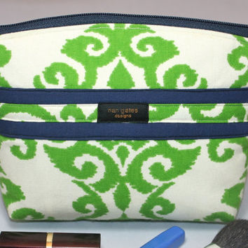Green Damask Makeup/Cosmetic Bag/Zippered Pouch Flat-Bottomed Round Top