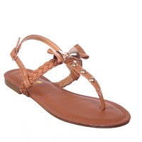 Flat T-strap Sandals with Bow