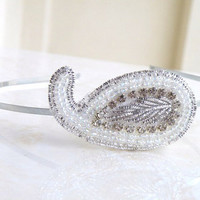 Bridal Headband White Peacock Paisley Silver by SomsStudio on Etsy