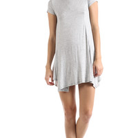 PANELED SHORT SLEEVE SWING DRESS - HEATHER GREY