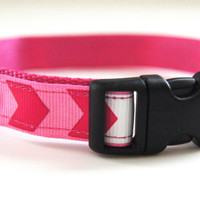 Pink Chevron Dog Collar Adjustable Sizes (XS, S, M)