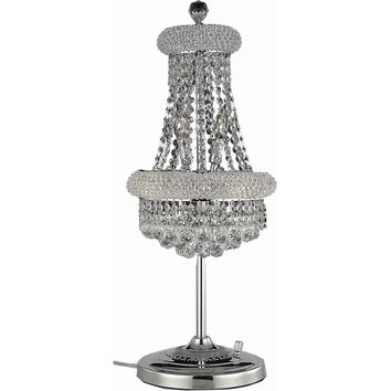 "Primo 12"" Diam Table Lamp, Chrome Finish, Clear Crystal, Elegant Cut"
