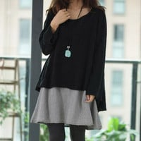 Maternity Clothes Maternity Dress One-Piece Long-Sleeve Top Set Loose Sweater Dress Maternity Clothing Autumn Pregnancy Clothes