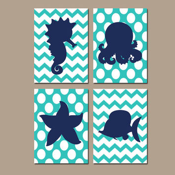 Nautical Ocean Bathroom Wall Art Navy Turquoise Canvas Fish Seahorse Octopus Starfish Artwork Girl Boy Sea Water Set of 4 Prints Decor