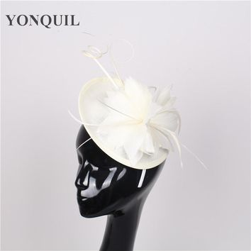NEW ARRIVAL 15color ivory feather sinamay fascinators hat cocktail hat wedding headwear church headpieces Derby hair accessories