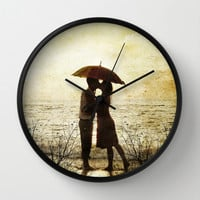 Love beach Wall Clock by Tony Vazquez