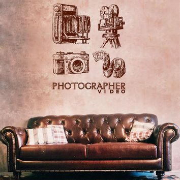 ik1136 Wall Decal Sticker camera film studio photographer
