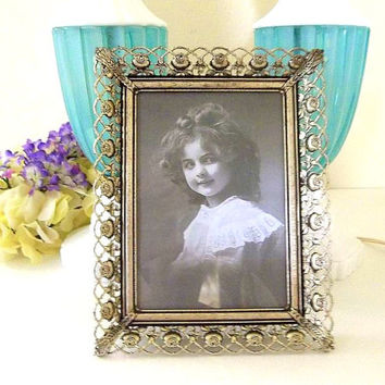 Vintage rose filigree 5x7 picture frame easel foot or wall hanging silver tone metal ornate picture frame photo frame ornate frame 1950's