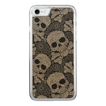 Sugar Skull Crossbones Pattern Carved iPhone 7 Case