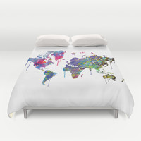 World Map Watercolor Duvet Cover by Bitter Moon