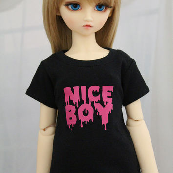 SD BJD Shirt, Nice Boy Pink and Black Shirt 1/3 Size Doll Clothes
