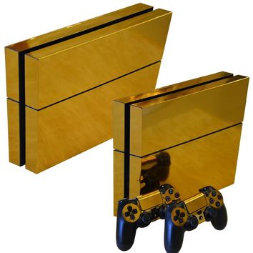 Gold Skin Sticker for playstation 4 PVC vinyl protector cover Decals for ps4 console and controller sticker for ps4 skin