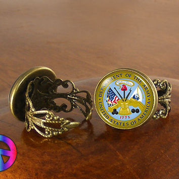 US United States Army Adjustable Ring Rings Jewelry Jewellery Women Gift