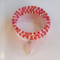Glass bead memory wire valentine's day bracelet