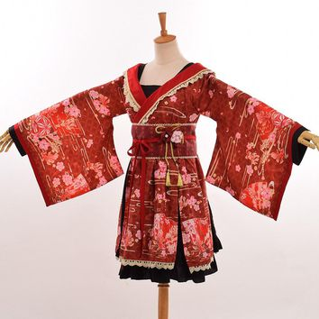 Girls Vintage Kimono Japanese Lolita Dress Cute Floral Print Flare Sleeve Costume with Waistbelt