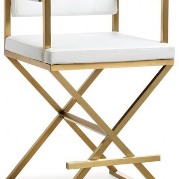 LAMBI DIRECTOR WHITE GOLD STEEL COUNTER STOOL