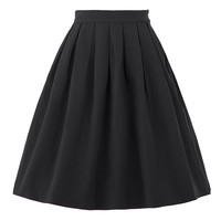 New Faldas Saia 2017 Summer Style Vintage Skirt High Waist Work Wear Womens Fashion Red Blue Black Skater Pleated Midi Skirt