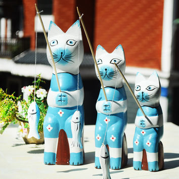 Nordic Wood Animal Wooden Fishing Cats Accessory Home Decor [6282379718]