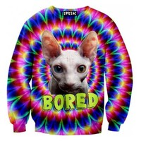 Psychedelic Bored Sphynx Kitty Cat Rainbow Trippy Graphic Print Sweater