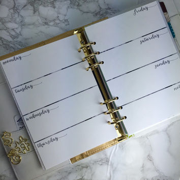 Week On 2 Pages A5 Planner Inserts