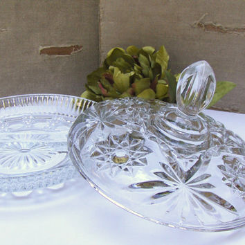 Vintage Crystal Dish w Lid  Divided Serving Dish