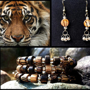 Bracelet and Earring Set - Tiger Charity Collection, Bracelet and Earrings - Or purchase individually at the links below