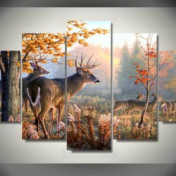 5 panel printed modular painting animal poster deer canvas print art modern home decor wall art picture for living room F0159