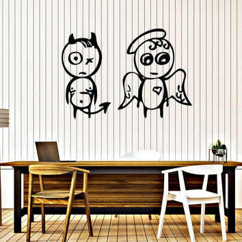 Wall Stickers Vinyl Decal Angel And Demon Decor Funny For Living Room Unique Gift (z2030)