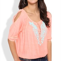 Elbow Sleeve Peasant Top with Tribal Neckline Trim